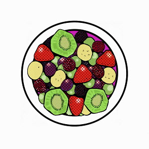 Overhead view of plate of fresh fruit salad