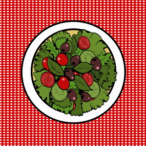 Overhead view of plate of green leaf salad