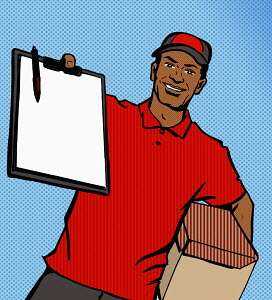 Cheerful delivery man holding out clipboard for signature