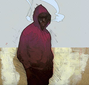 Angry man in hoody