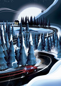Car driving home through snowy winter forest at night