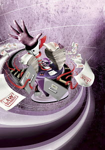 Office worker drowning in vortex of paperwork, filing, laws and red tape