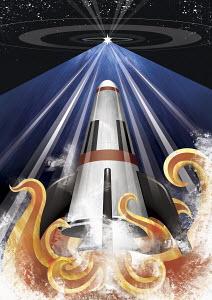 Rocket blasting off towards star