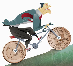 Businessman riding bicycle with coin-shaped wheels uphill