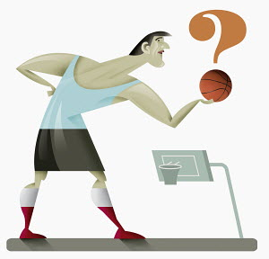 Man holding question mark-shaped basketball