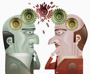Two businessmen with cogs on heads