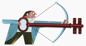 Businessman shooting bow with key for arrow