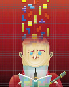 Puzzle game blocks fitting into businessman's head