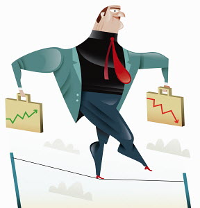 Businessman balancing with briefcase charts on tightrope