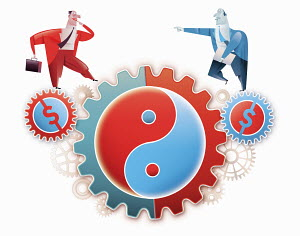 Businessman walking on cogs with currency symbols