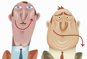 Contrasting up and down arrow mouths of happy and sad businessmen