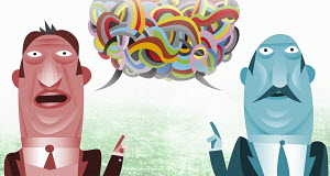Businessmen with communications problems in tangled multicolored speech bubble