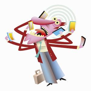 Frantic businessman multi-tasking answering lots of smart phones
