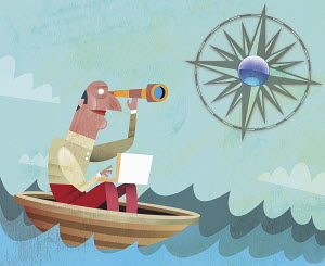 Man in boat looking through telescope towards compass sun