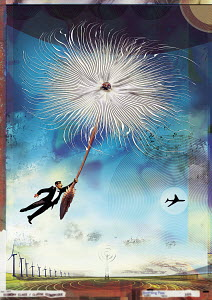 Businessman floating on dandelion seed