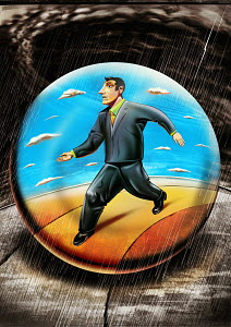 Businessman in bubble walking through rain
