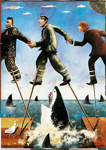 Businessmen on stilts walking through shark-infested waters