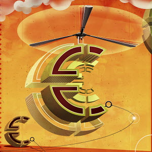 Ascending euro sign with helicopter propeller