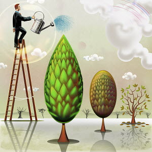 Businessman on step ladder watering green tree ignoring dying trees