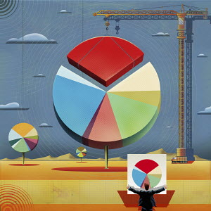 Businessman holding plan while crane moves large pie chart piece