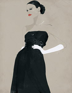 Glamorous woman in evening gown