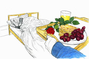 Man bringing tray with breakfast in bed for sleeping woman