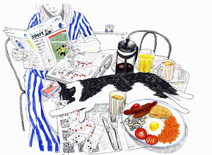 Woman relaxing reading newspaper at table with english breakfast and cat