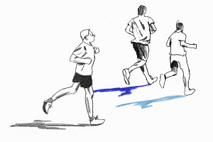 Pencil drawing of men running
