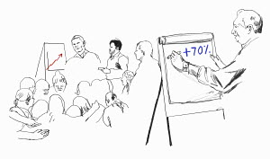 Man writing on flipchart in training presentation