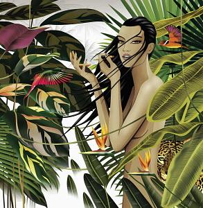 Nude woman in tropical setting