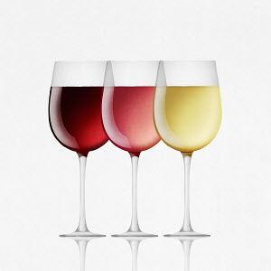 Red, white and ros� wine in glasses