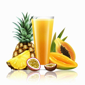 Fresh pineapple, passionfruit, mango and papaya with glass of fruit juice