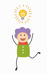 Excited happy woman with light bulb above head