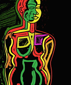 Colorful, nude woman