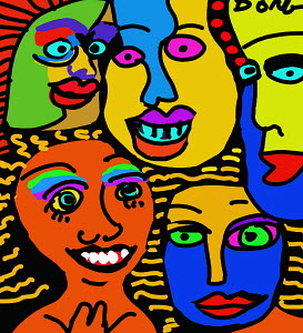 Smiling, colorful faces