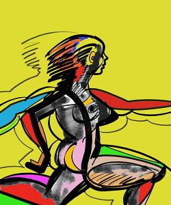 Nude woman sprinting