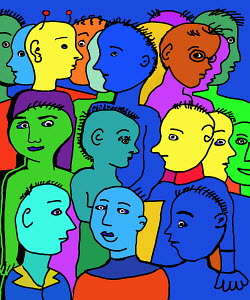 Alien in crowd of colored people