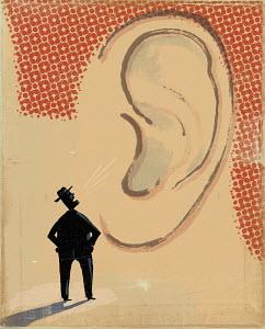 Man shouting in large ear