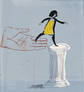 Large hand placing woman on pedestal
