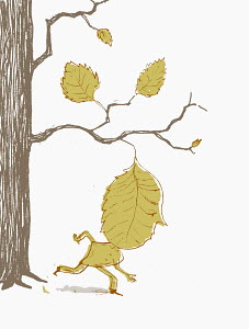 Man with leaf head moving away from tree