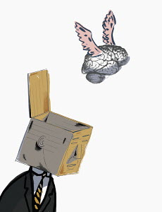 Brain flying from open box on businessman�s head