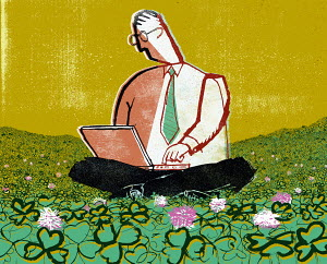 Businessman sitting in clover using laptop