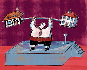 Businessman lifting barbell with houses on ends