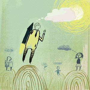Businessman flying with jetpack