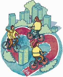 People riding on heart-shape path through city