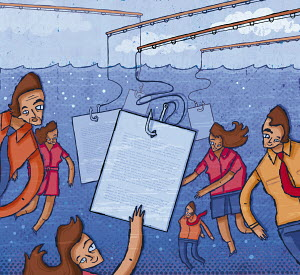 Business people underwater reaching for documents on fishing hooks
