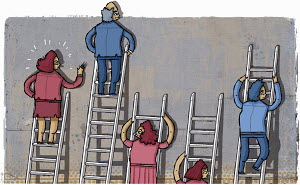 Frustrated businesswomen on short ladders beside businessmen climbing long ladders