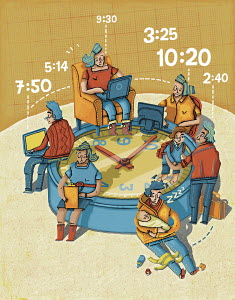 Telecommuters working from home around large clock