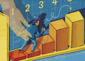 Businessman climbing rising bar chart with assistance of helping hand