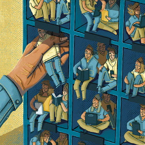Large hand arranging students in pigeon holes